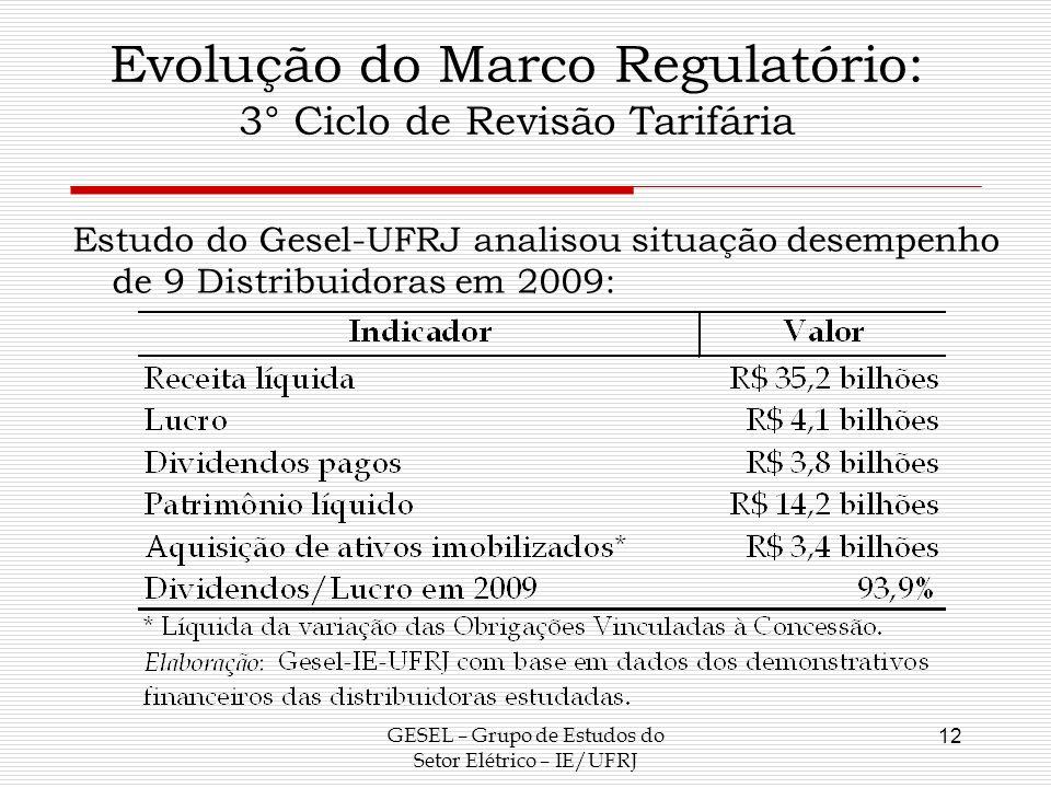 Evolução do Marco Regulatório: 3° Ciclo de Revisão Tarifária Estudo do Gesel-UFRJ analisou situação desempenho de 9 Distribuidoras em 2009: GESEL – Gr