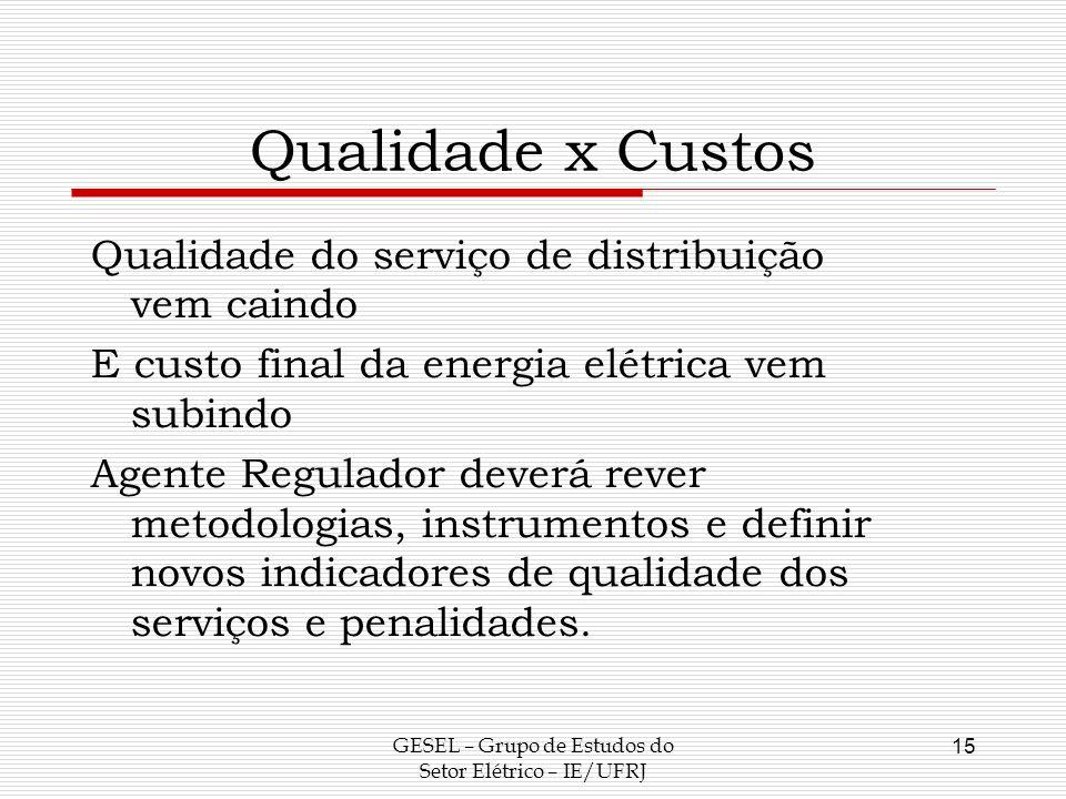 Qualidade x Custos Qualidade do serviço de distribuição vem caindo E custo final da energia elétrica vem subindo Agente Regulador deverá rever metodol