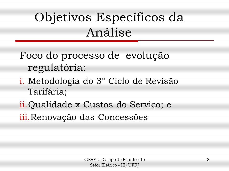 Objetivos Específicos da Análise Foco do processo de evolução regulatória: i.Metodologia do 3° Ciclo de Revisão Tarifária; ii.Qualidade x Custos do Se