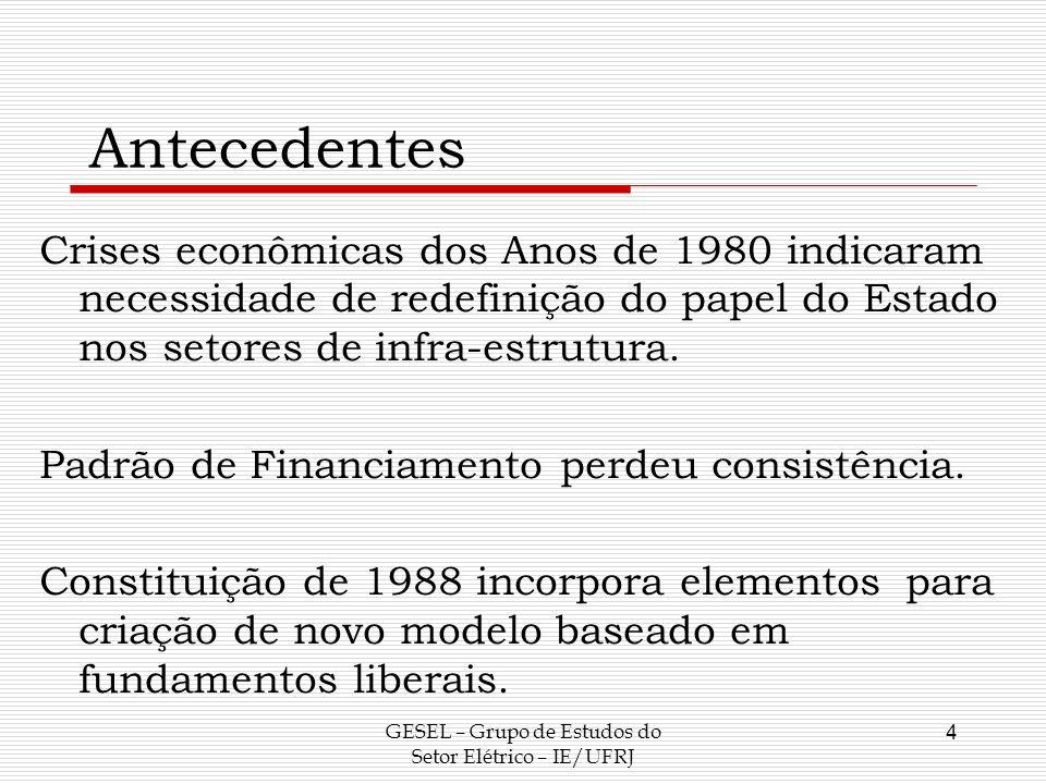 Antecedentes Crises econômicas dos Anos de 1980 indicaram necessidade de redefinição do papel do Estado nos setores de infra-estrutura. Padrão de Fina