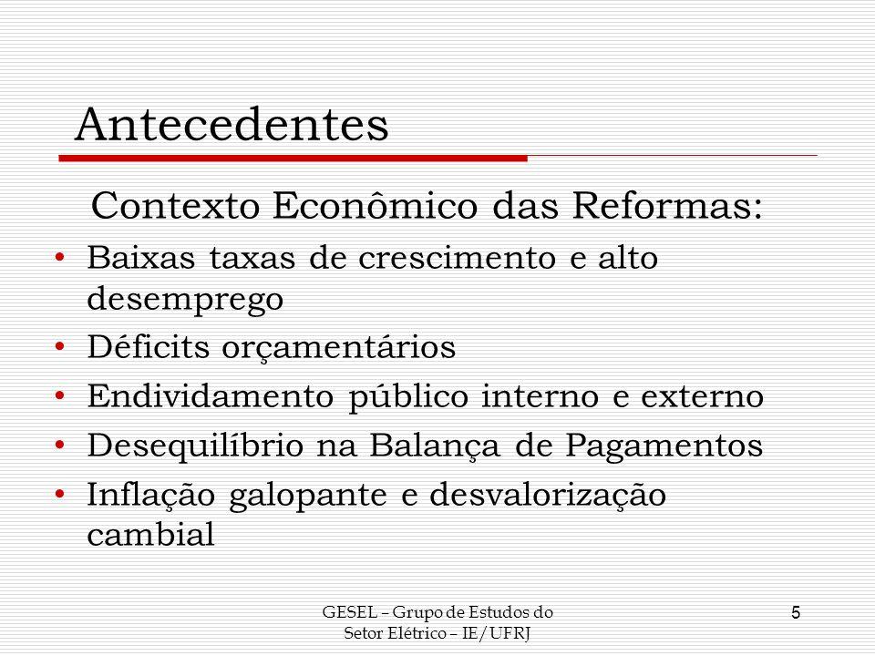 Antecedentes Contexto Econômico das Reformas: Baixas taxas de crescimento e alto desemprego Déficits orçamentários Endividamento público interno e ext