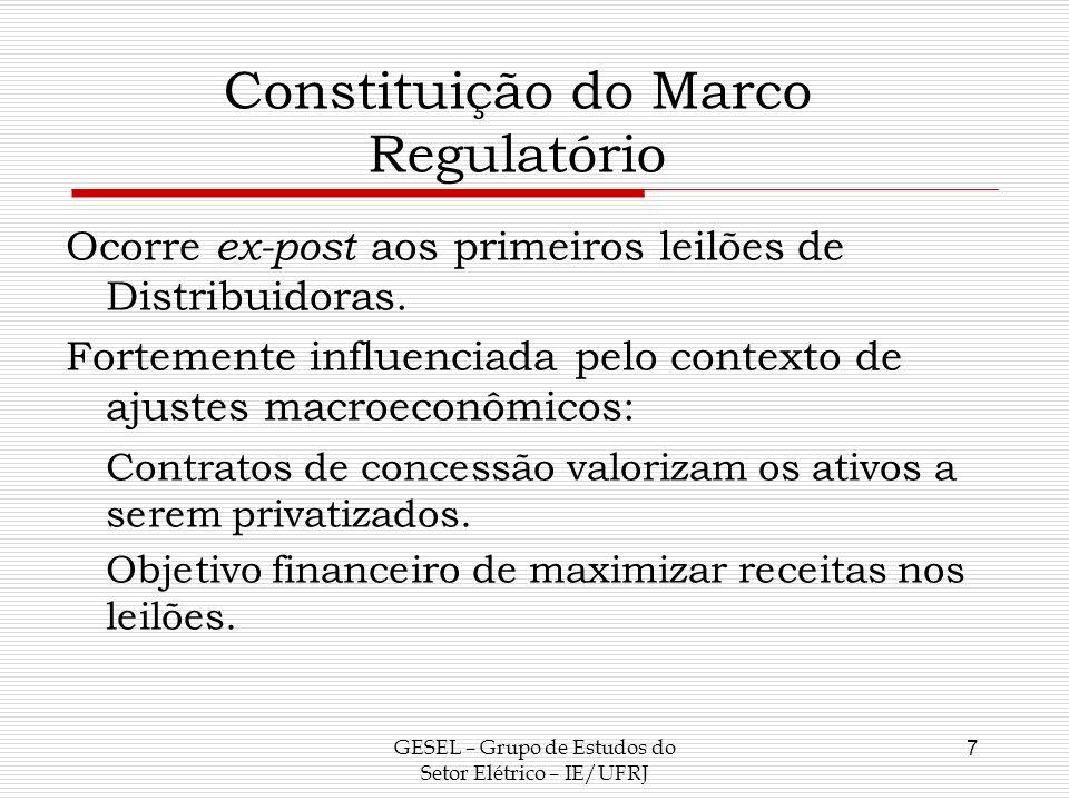 Constituição do Marco Regulatório Ocorre ex-post aos primeiros leilões de Distribuidoras. Fortemente influenciada pelo contexto de ajustes macroeconôm