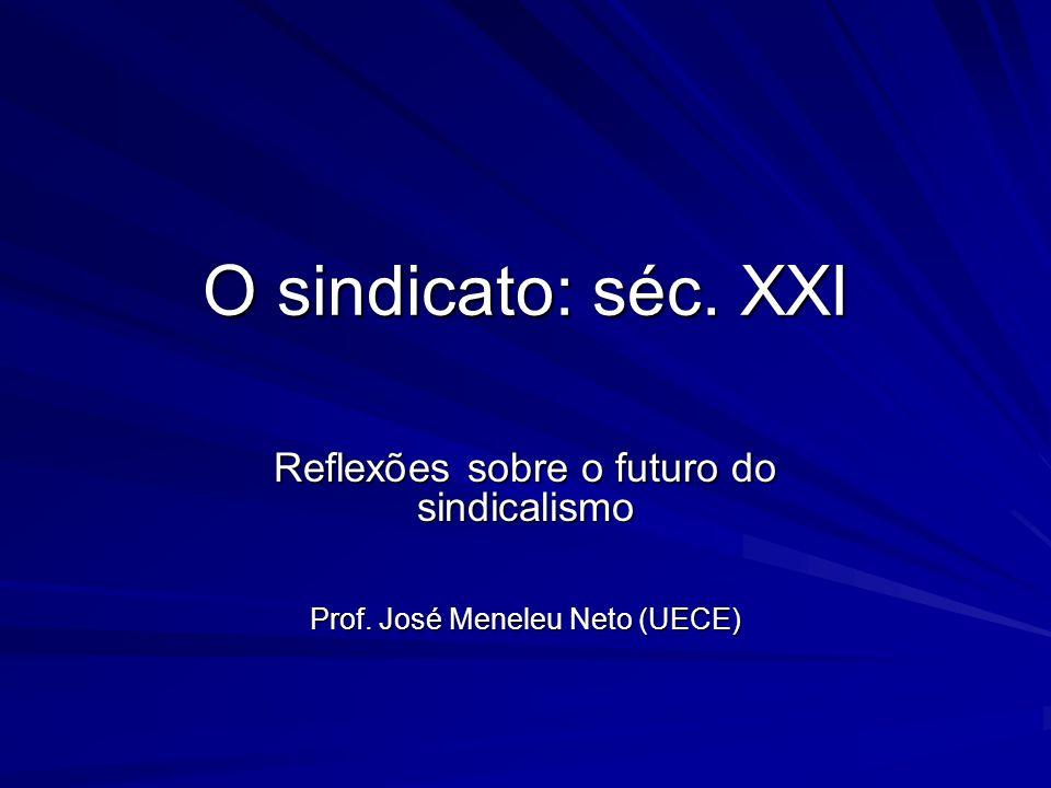 O sindicato: séc. XXI Reflexões sobre o futuro do sindicalismo Prof. José Meneleu Neto (UECE)