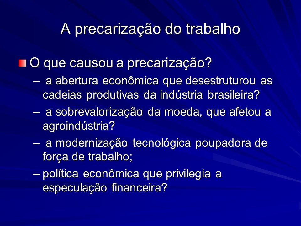 A precarização do trabalho O que causou a precarização? – a abertura econômica que desestruturou as cadeias produtivas da indústria brasileira? – a so