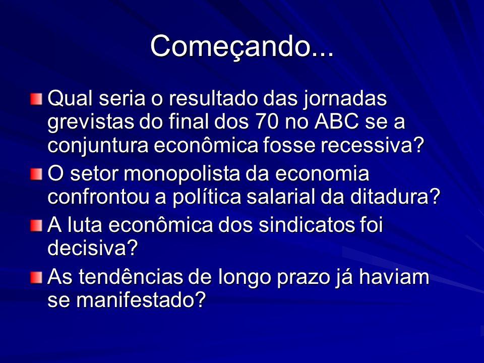 Começando... Qual seria o resultado das jornadas grevistas do final dos 70 no ABC se a conjuntura econômica fosse recessiva? O setor monopolista da ec