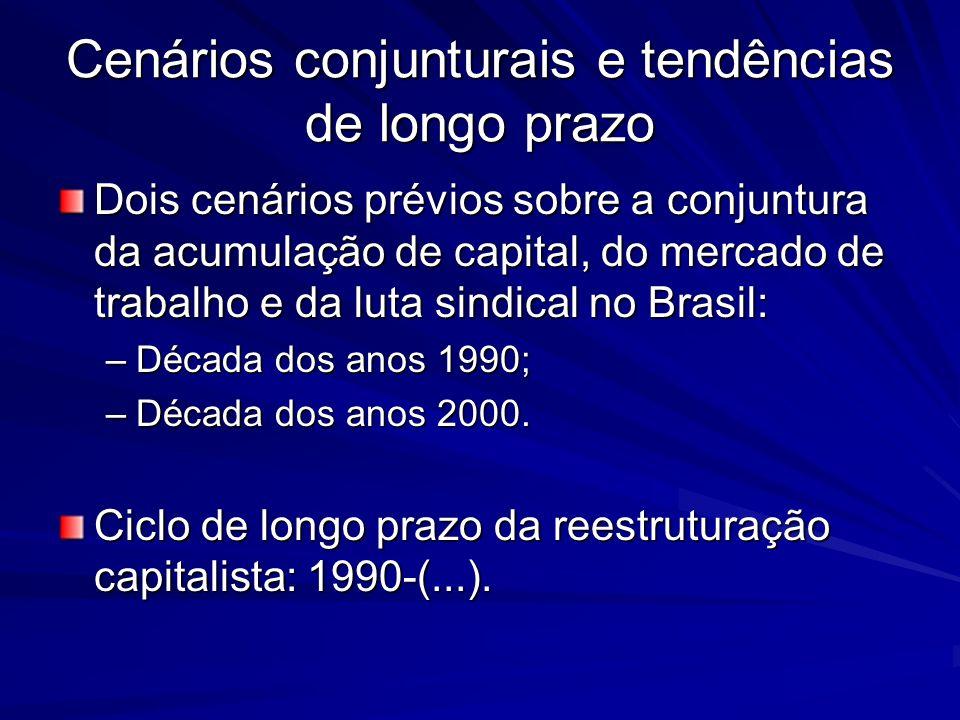 Os anos de chumbo: 1990-99 A década de 90 e mudança de tendência dos indicadores da situação do trabalho no Brasil.