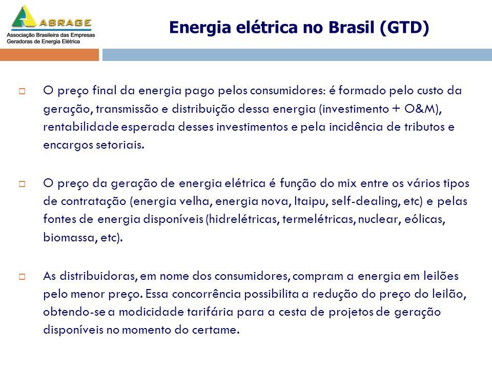 O preço final da energia pago pelos consumidores: é formado pelo custo da geração, transmissão e distribuição dessa energia (investimento + O&M), rent