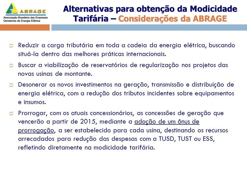 Alternativas para obtenção da Modicidade Tarifária – Considerações da ABRAGE Reduzir a carga tributária em toda a cadeia da energia elétrica, buscando