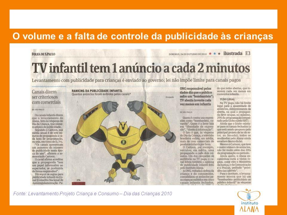 O volume e a falta de controle da publicidade às crianças Fonte: Levantamento Projeto Criança e Consumo – Dia das Crianças 2010
