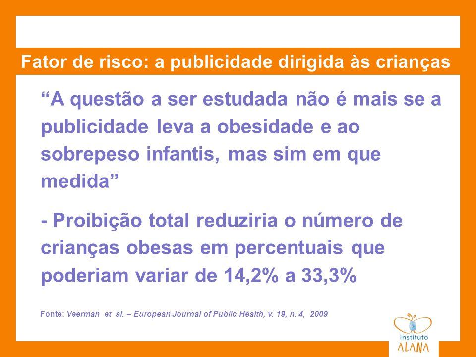 Fator de risco: a publicidade dirigida às crianças A questão a ser estudada não é mais se a publicidade leva a obesidade e ao sobrepeso infantis, mas