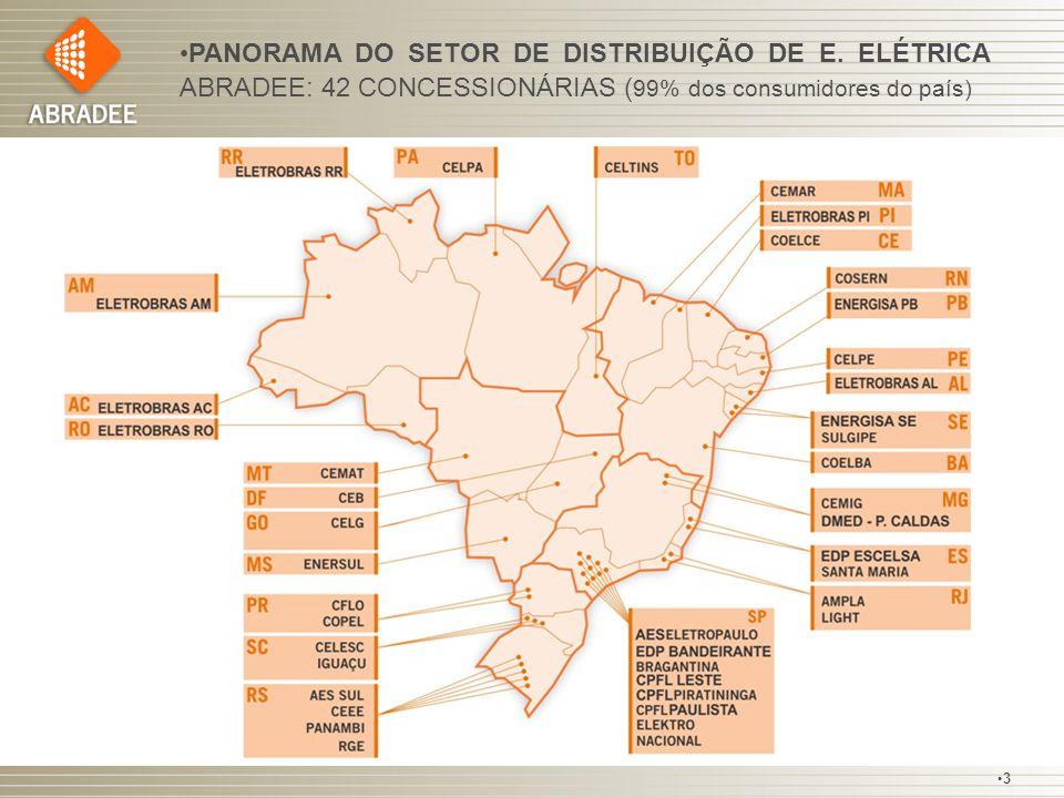 PANORAMA DO SETOR DE DISTRIBUIÇÃO DE E. ELÉTRICA ABRADEE: 42 CONCESSIONÁRIAS ( 99% dos consumidores do país) 3