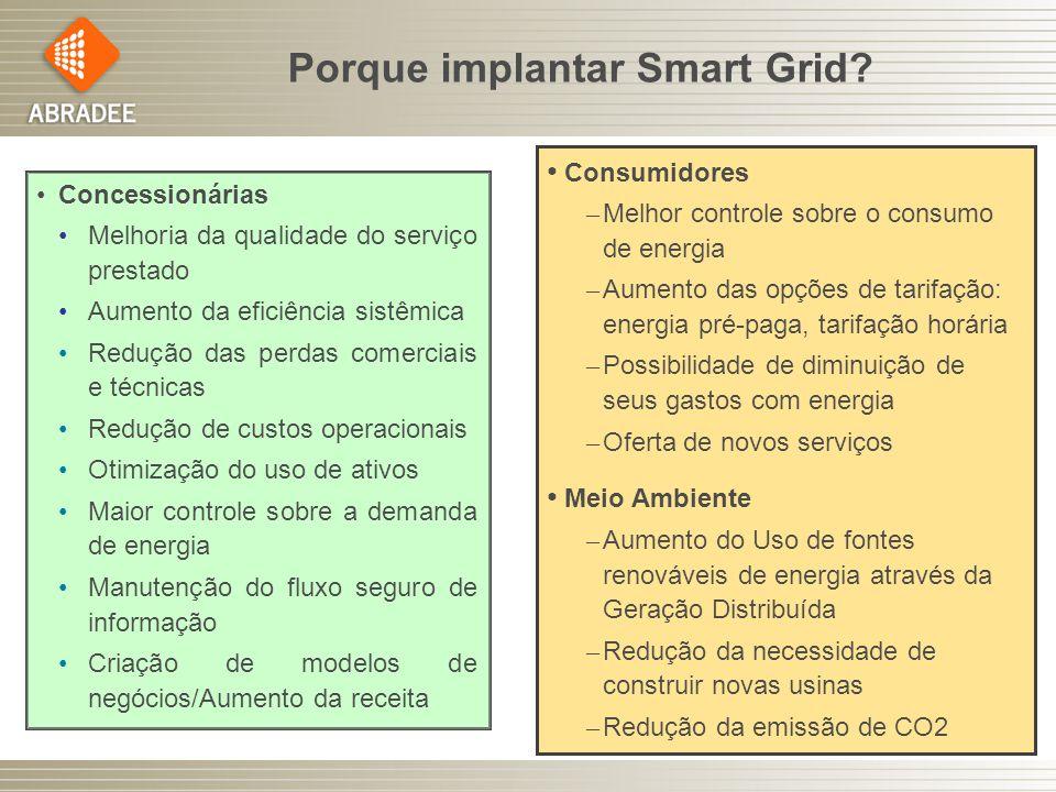 Porque implantar Smart Grid? Consumidores – Melhor controle sobre o consumo de energia – Aumento das opções de tarifação: energia pré-paga, tarifação