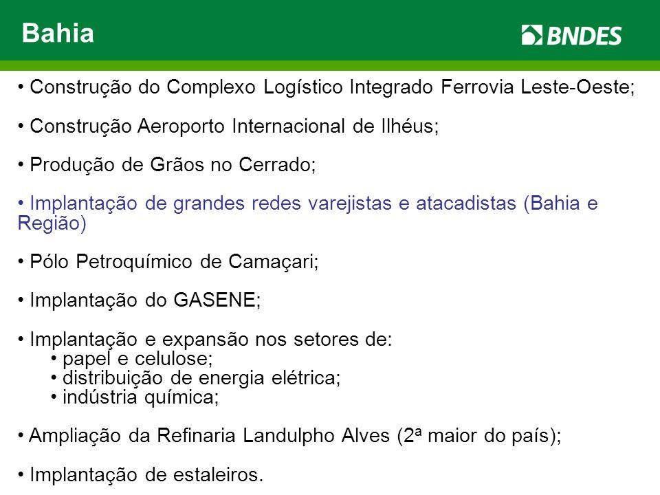 Bahia Construção do Complexo Logístico Integrado Ferrovia Leste-Oeste; Construção Aeroporto Internacional de Ilhéus; Produção de Grãos no Cerrado; Imp