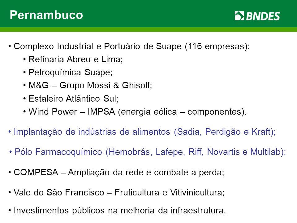 Pernambuco Complexo Industrial e Portuário de Suape (116 empresas): Refinaria Abreu e Lima; Petroquímica Suape; M&G – Grupo Mossi & Ghisolf; Estaleiro Atlântico Sul; Wind Power – IMPSA (energia eólica – componentes).