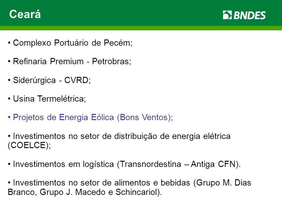 Ceará Complexo Portuário de Pecém; Refinaria Premium - Petrobras; Siderúrgica - CVRD; Usina Termelétrica; Projetos de Energia Eólica (Bons Ventos); In