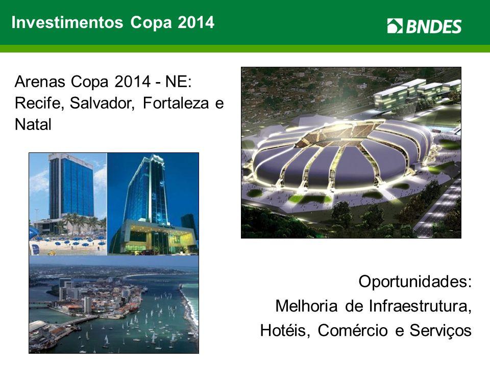 Investimentos Copa 2014 Arenas Copa 2014 - NE: Recife, Salvador, Fortaleza e Natal Oportunidades: Melhoria de Infraestrutura, Hotéis, Comércio e Servi