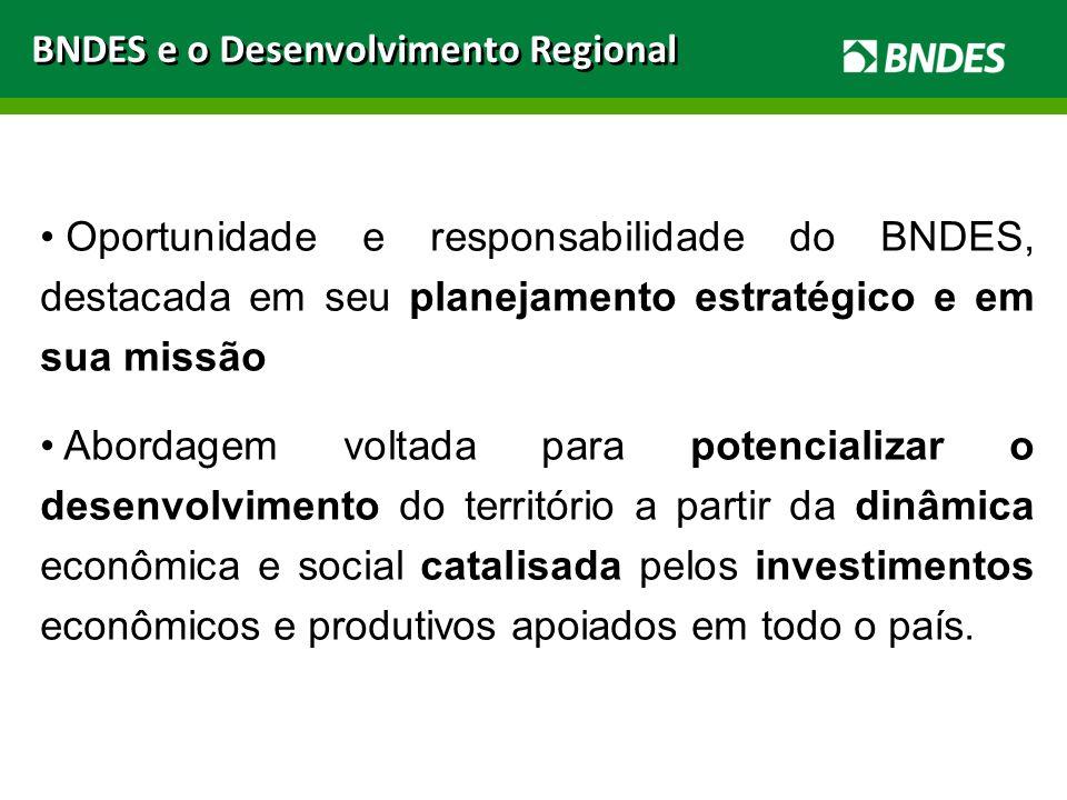 BNDES e o Desenvolvimento Regional Oportunidade e responsabilidade do BNDES, destacada em seu planejamento estratégico e em sua missão Abordagem volta