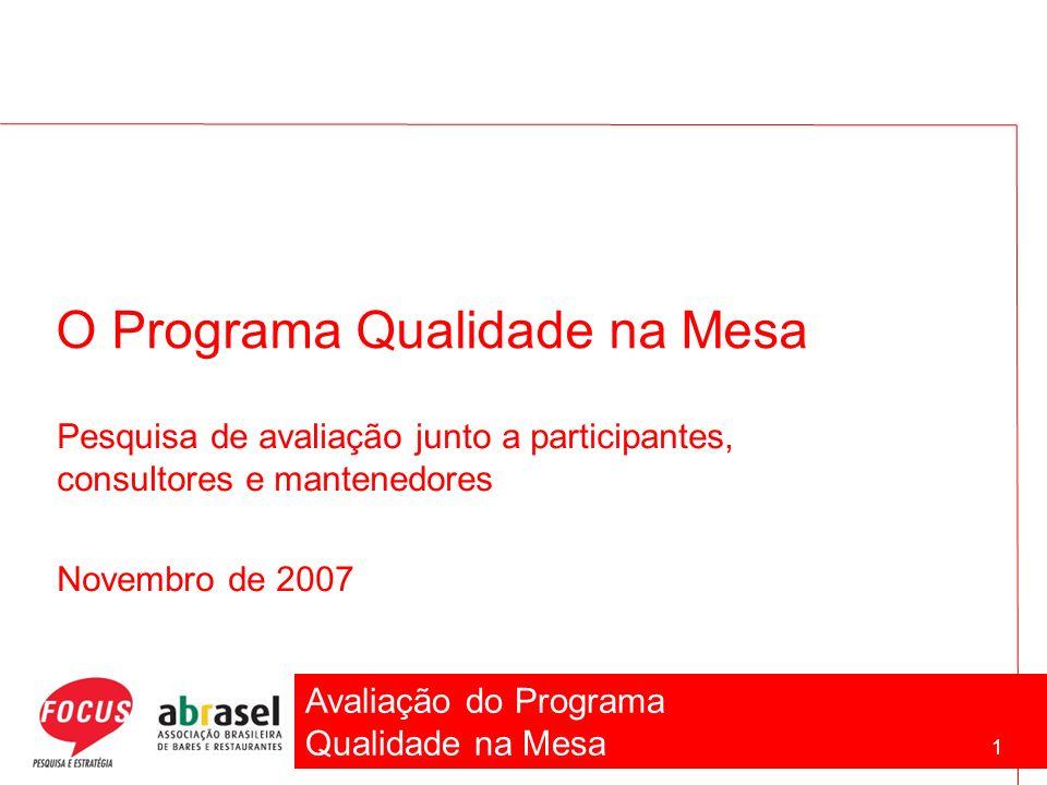 Avaliação do Programa Qualidade na Mesa 1 O Programa Qualidade na Mesa Pesquisa de avaliação junto a participantes, consultores e mantenedores Novembr