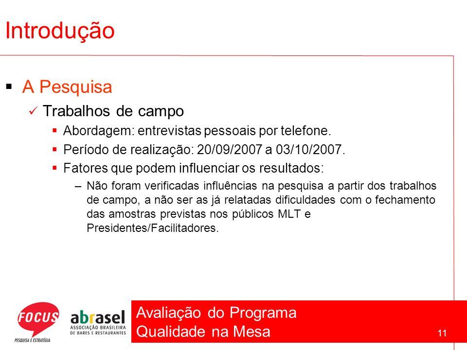 Avaliação do Programa Qualidade na Mesa 11 Introdução A Pesquisa Trabalhos de campo Abordagem: entrevistas pessoais por telefone. Período de realizaçã