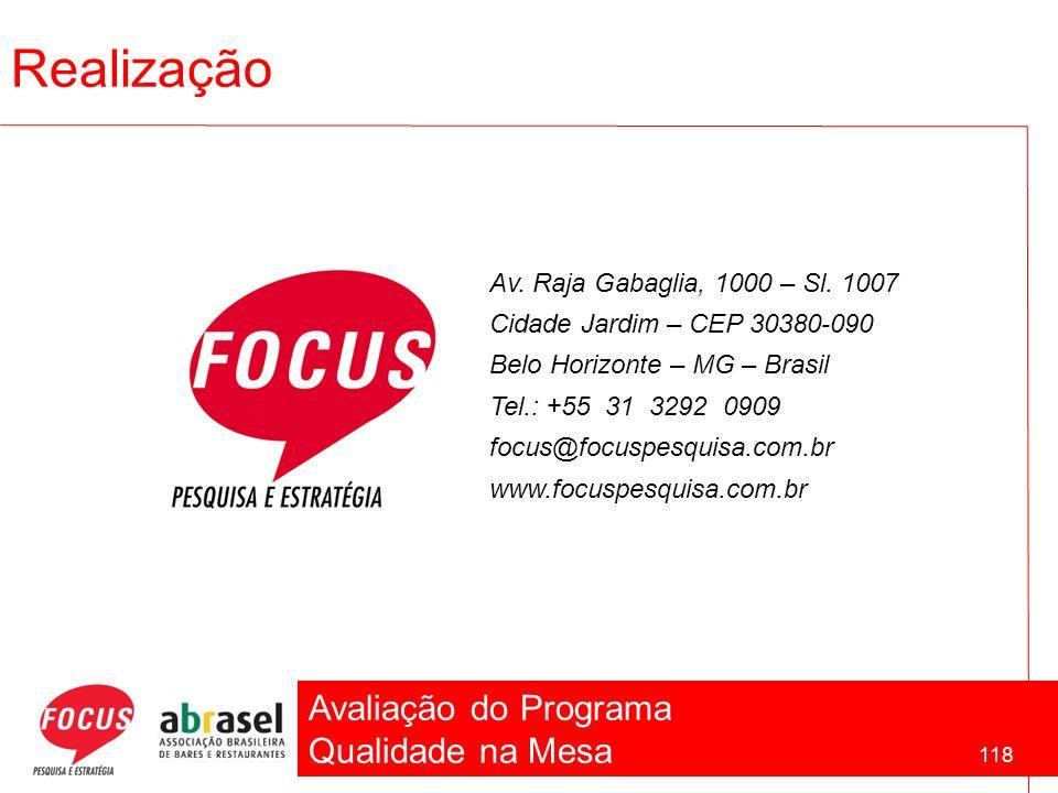 Avaliação do Programa Qualidade na Mesa 118 Realização Av. Raja Gabaglia, 1000 – Sl. 1007 Cidade Jardim – CEP 30380-090 Belo Horizonte – MG – Brasil T