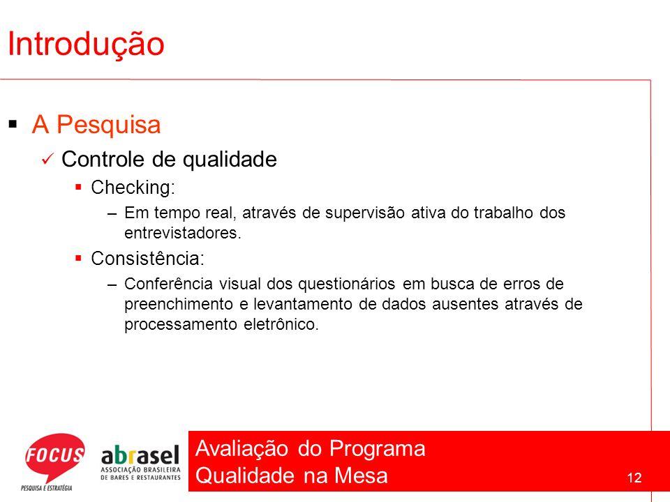 Avaliação do Programa Qualidade na Mesa 12 Introdução A Pesquisa Controle de qualidade Checking: –Em tempo real, através de supervisão ativa do trabal