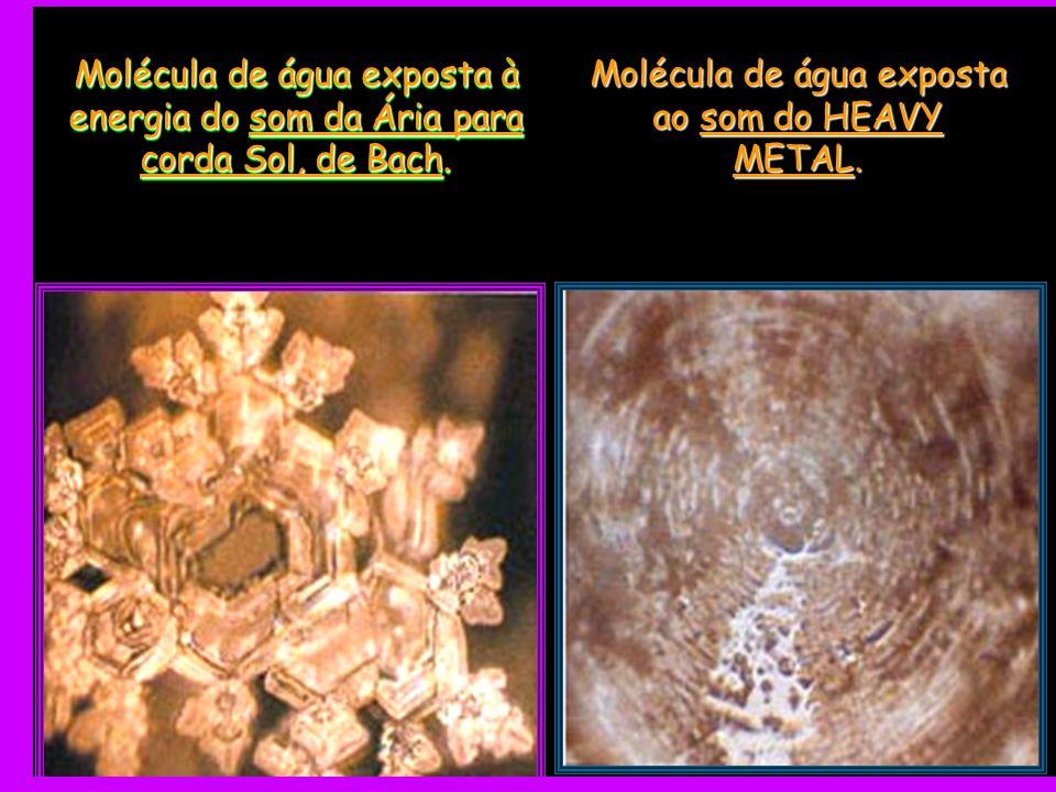 Molécula de água exposta à energia do som da Ária para corda Sol, de Bach. Molécula de água exposta ao som do HEAVY METAL.