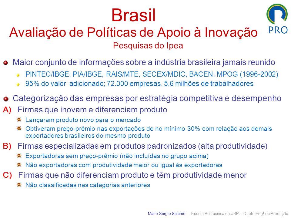Brasil Avaliação de Políticas de Apoio à Inovação Pesquisas do Ipea Maior conjunto de informações sobre a indústria brasileira jamais reunido PINTEC/I
