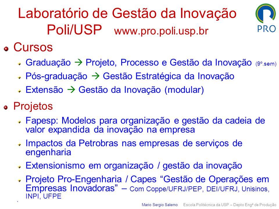 Laboratório de Gestão da Inovação Poli/USP www.pro.poli.usp.br Mario Sergio Salerno Escola Politécnica da USP – Depto Eng a de Produção Cursos Graduaç
