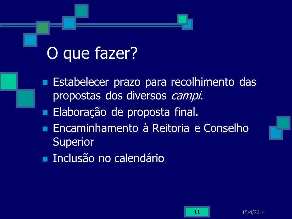 15/4/2014 11 O que fazer? Estabelecer prazo para recolhimento das propostas dos diversos campi. Elaboração de proposta final. Encaminhamento à Reitori