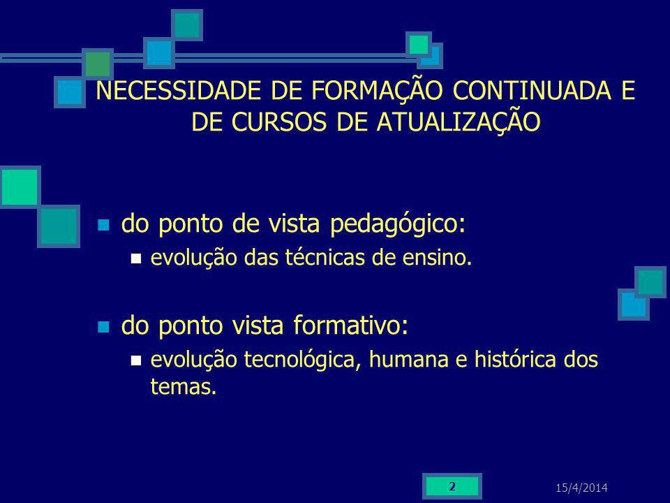 15/4/2014 2 NECESSIDADE DE FORMAÇÃO CONTINUADA E DE CURSOS DE ATUALIZAÇÃO do ponto de vista pedagógico: evolução das técnicas de ensino. do ponto vist