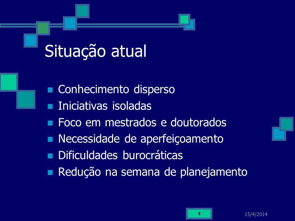 15/4/2014 4 Situação atual Conhecimento disperso Iniciativas isoladas Foco em mestrados e doutorados Necessidade de aperfeiçoamento Dificuldades buroc
