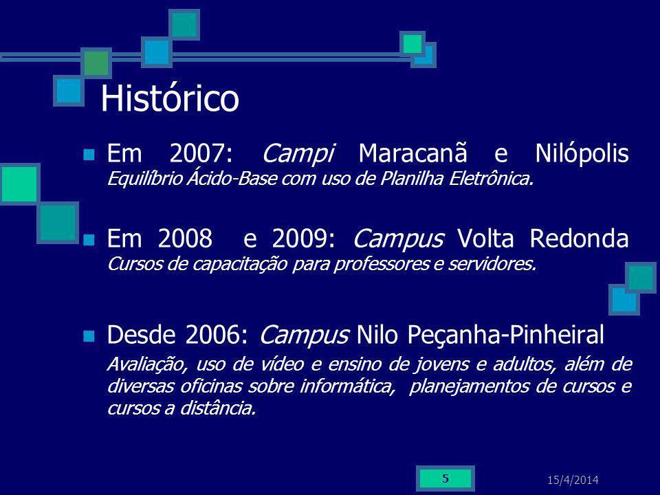 15/4/2014 5 Histórico Em 2007: Campi Maracanã e Nilópolis Equilíbrio Ácido-Base com uso de Planilha Eletrônica. Em 2008 e 2009: Campus Volta Redonda C