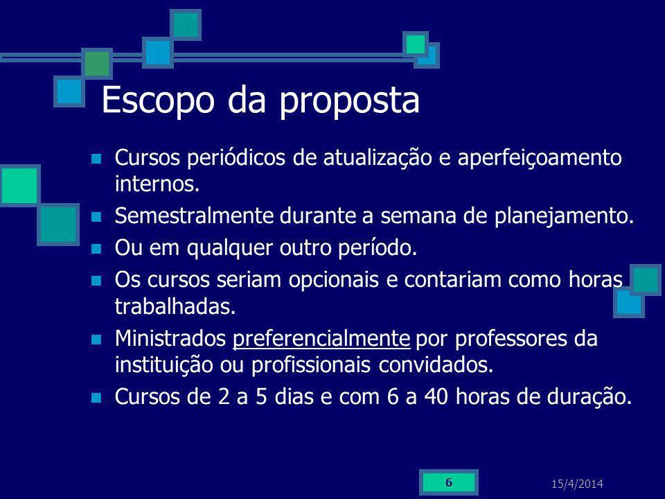 15/4/2014 6 Escopo da proposta Cursos periódicos de atualização e aperfeiçoamento internos. Semestralmente durante a semana de planejamento. Ou em qua