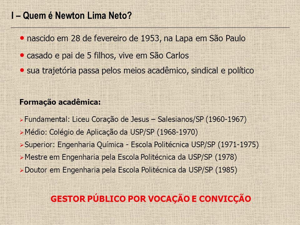I – Quem é Newton Lima Neto? nascido em 28 de fevereiro de 1953, na Lapa em São Paulo casado e pai de 5 filhos, vive em São Carlos sua trajetória pass