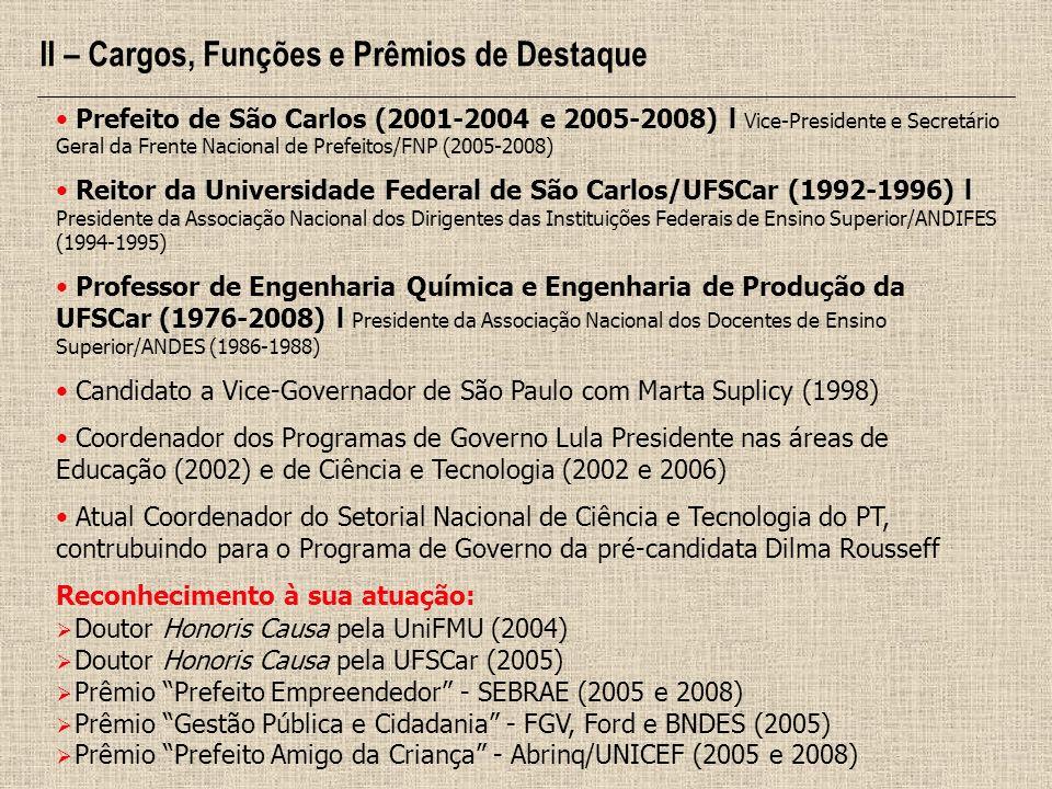 Prefeito de São Carlos (2001-2004 e 2005-2008) l Vice-Presidente e Secretário Geral da Frente Nacional de Prefeitos/FNP (2005-2008) Reitor da Universi