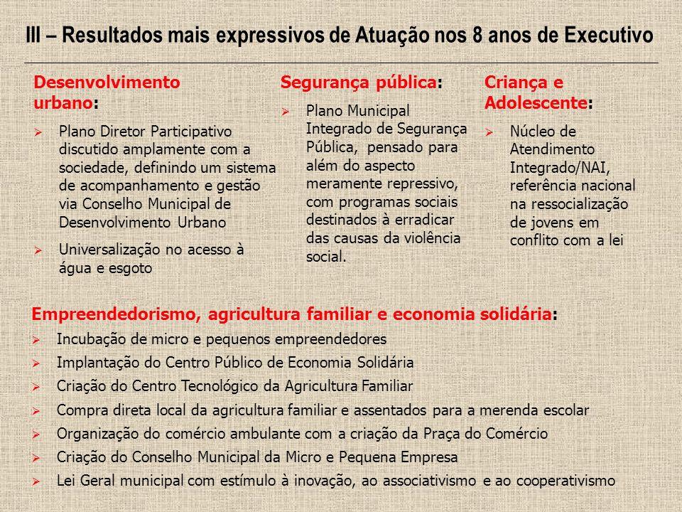 III – Resultados mais expressivos de Atuação nos 8 anos de Executivo Empreendedorismo, agricultura familiar e economia solidária: Incubação de micro e