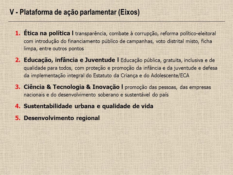 1.Ética na política l transparência, combate à corrupção, reforma político-eleitoral com introdução do financiamento público de campanhas, voto distri