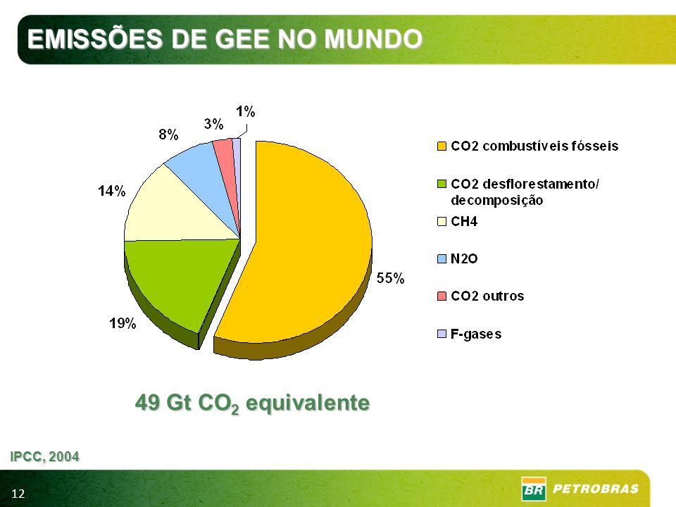 12 EMISSÕES DE GEE NO MUNDO 49 Gt CO 2 equivalente IPCC, 2004