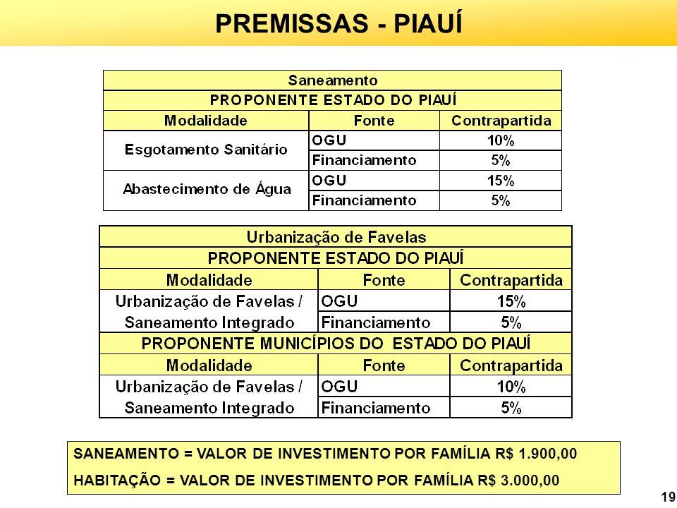 19 PREMISSAS - PIAUÍ SANEAMENTO = VALOR DE INVESTIMENTO POR FAMÍLIA R$ 1.900,00 HABITAÇÃO = VALOR DE INVESTIMENTO POR FAMÍLIA R$ 3.000,00