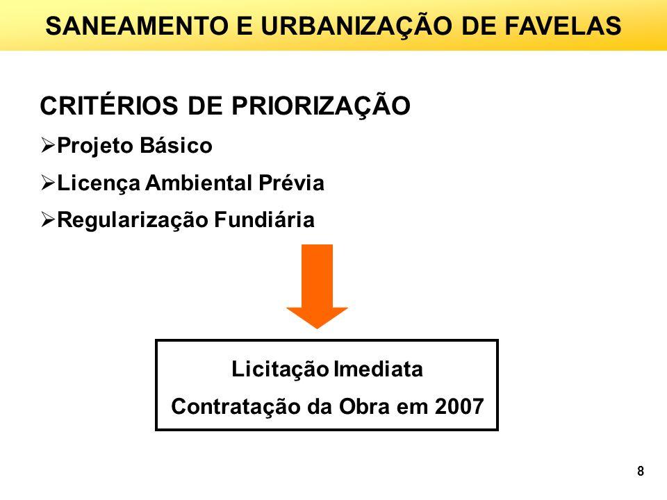 CRITÉRIOS DE PRIORIZAÇÃO Projeto Básico Licença Ambiental Prévia Regularização Fundiária Licitação Imediata Contratação da Obra em 2007 SANEAMENTO E URBANIZAÇÃO DE FAVELAS 8