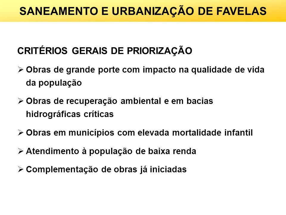 SANEAMENTO E URBANIZAÇÃO DE FAVELAS CRITÉRIOS GERAIS DE PRIORIZAÇÃO Obras de grande porte com impacto na qualidade de vida da população Obras de recup