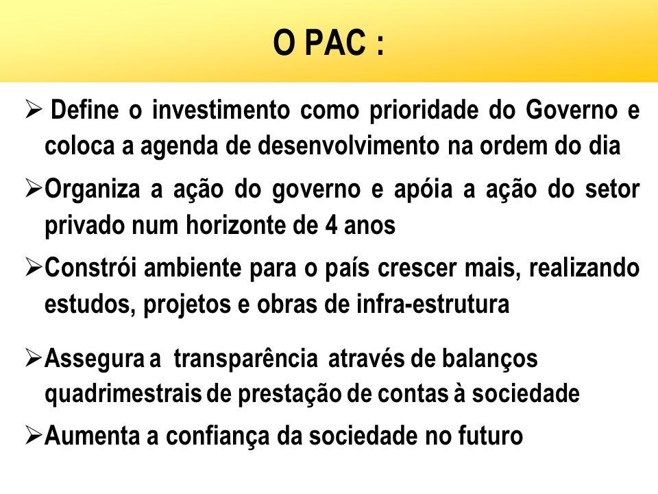 O PAC : Define o investimento como prioridade do Governo e coloca a agenda de desenvolvimento na ordem do dia Organiza a ação do governo e apóia a açã