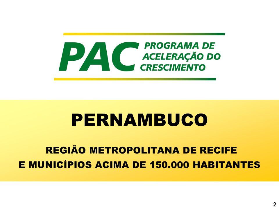 3 PERNAMBUCO ENTES BENEFICIADOS ESTADO DE PERNAMBUCO REGIÃO METROPOLITANA DE RECIFE: 11 MUNICÍPIOS MUNICÍPIOS ACIMA DE 150 MIL HABITANTES: 2 MUNICÍPIOS DEMAIS MUNICÍPIOS: 7 MUNICÍPIOS TOTAL DE MUNICÍPIOS = 20