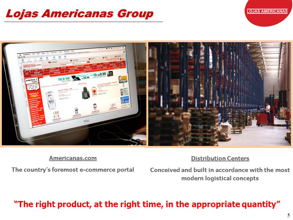 6 Lojas Americanas Group Shoptime Complementary Assortment TV Channel, Internet and Catalogues Americanas Taií Personal Loans, Consumer Credit, Private Label and Co-branded Cards We Always Want More