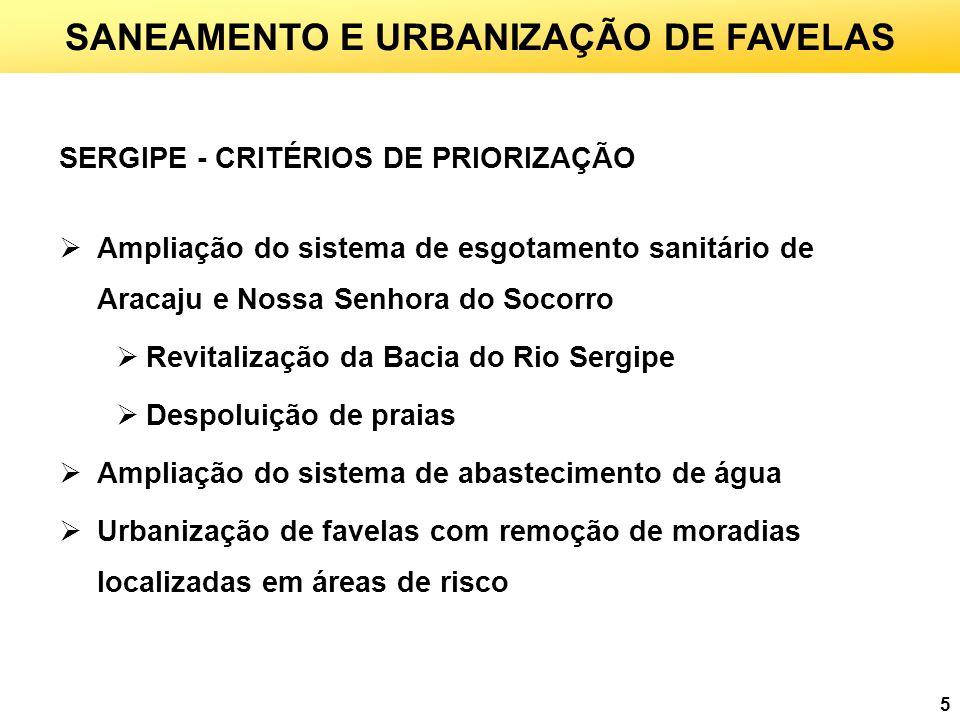 5 SANEAMENTO E URBANIZAÇÃO DE FAVELAS SERGIPE - CRITÉRIOS DE PRIORIZAÇÃO Ampliação do sistema de esgotamento sanitário de Aracaju e Nossa Senhora do S