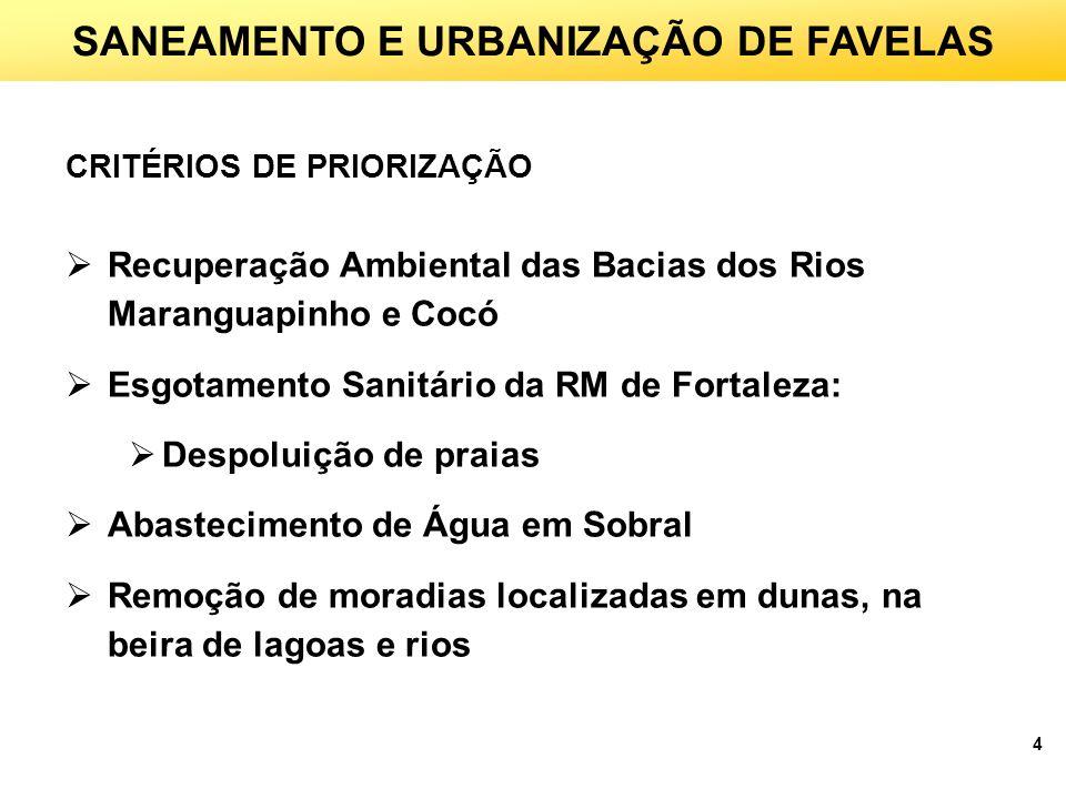 4 SANEAMENTO E URBANIZAÇÃO DE FAVELAS CRITÉRIOS DE PRIORIZAÇÃO Recuperação Ambiental das Bacias dos Rios Maranguapinho e Cocó Esgotamento Sanitário da