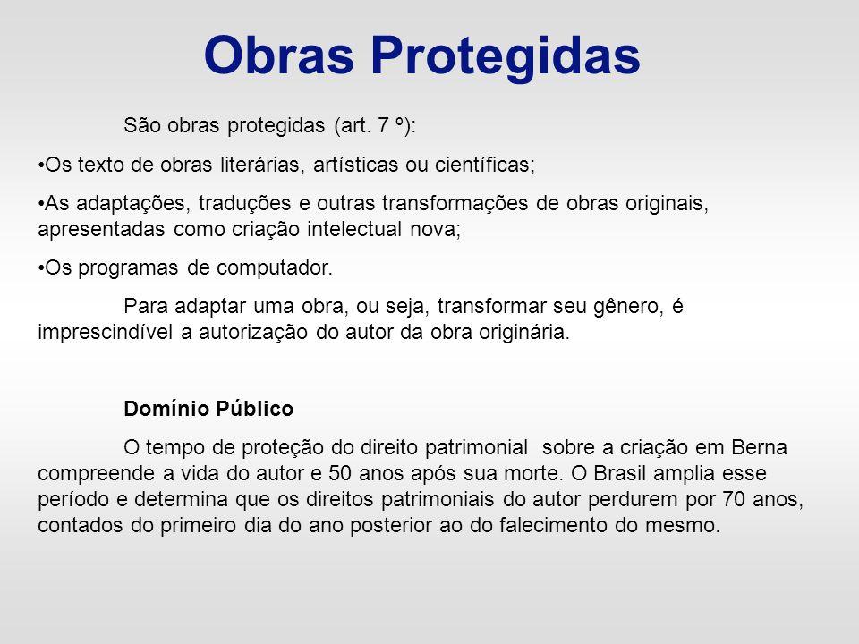 Obras Protegidas São obras protegidas (art. 7 º): Os texto de obras literárias, artísticas ou científicas; As adaptações, traduções e outras transform