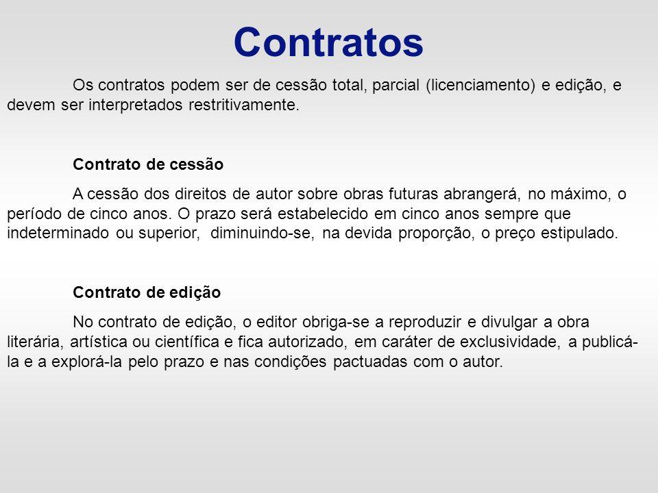 Contratos Os contratos podem ser de cessão total, parcial (licenciamento) e edição, e devem ser interpretados restritivamente. Contrato de cessão A ce