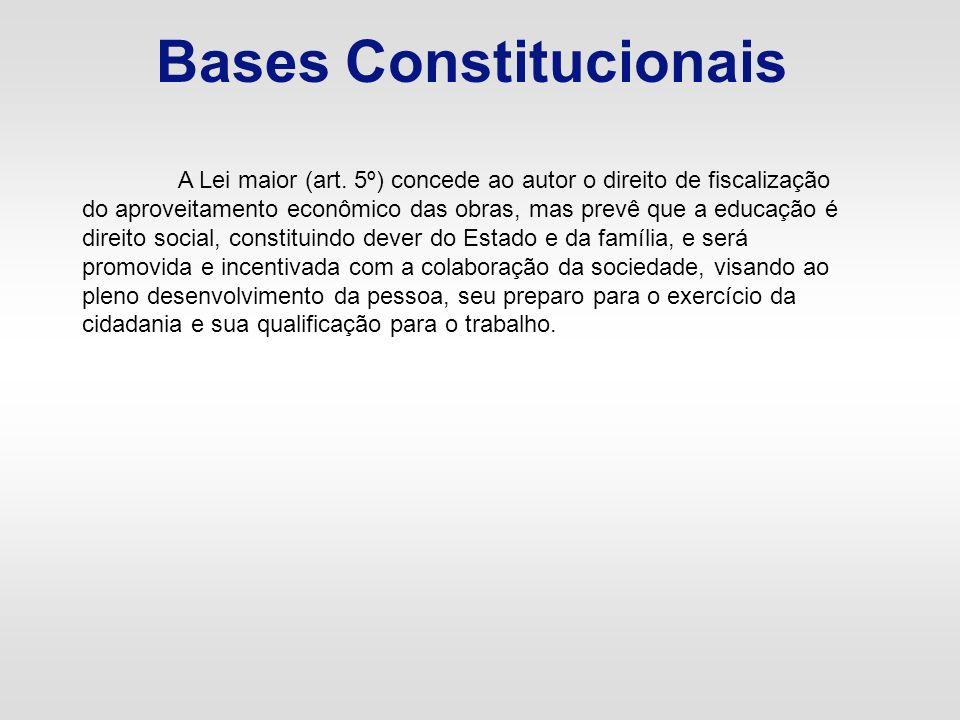 Bases Constitucionais A Lei maior (art. 5º) concede ao autor o direito de fiscalização do aproveitamento econômico das obras, mas prevê que a educação