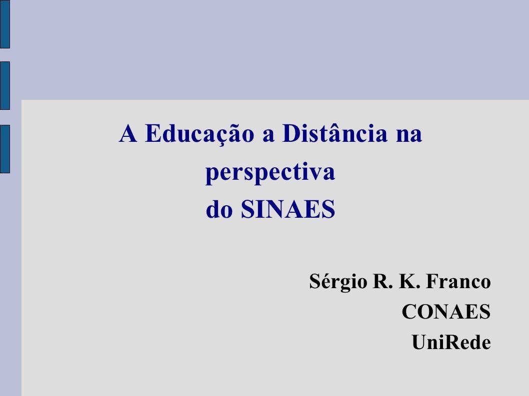 A Educação a Distância na perspectiva do SINAES Sérgio R. K. Franco CONAES UniRede